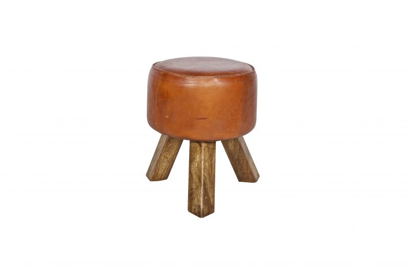 SMALL LEATHER STOOL    - CHAIRS, STOOLS