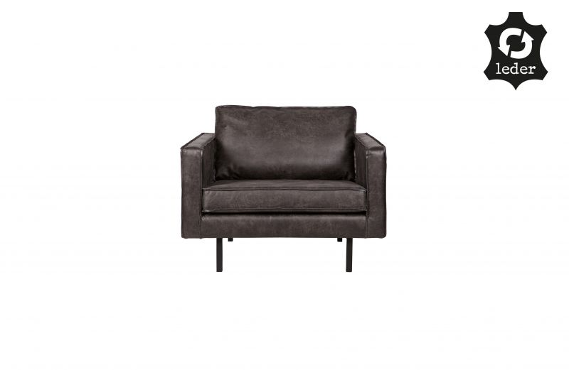 RD RECYCLE LEATHER ARMCHAIR BLACK    - CHAIRS, STOOLS