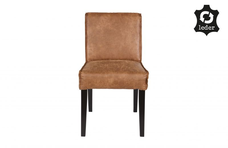 RD RECYCLE LEATHER DINING CHAIR COGNAC    - CHAIRS, STOOLS