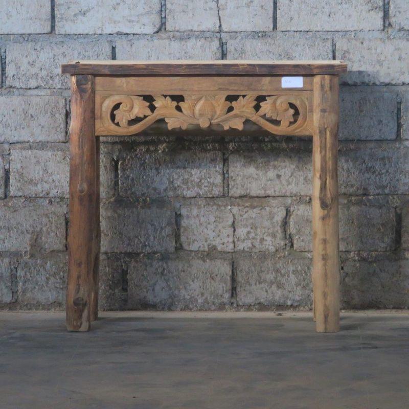 TEAK CARVED CONSOL TABLE - CONSOLS, DESKS