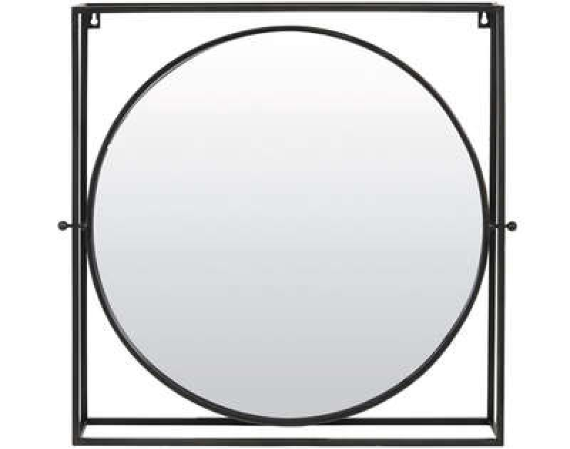 ROUND MIRROR WITH SQUARE FRAME BRONZE 65