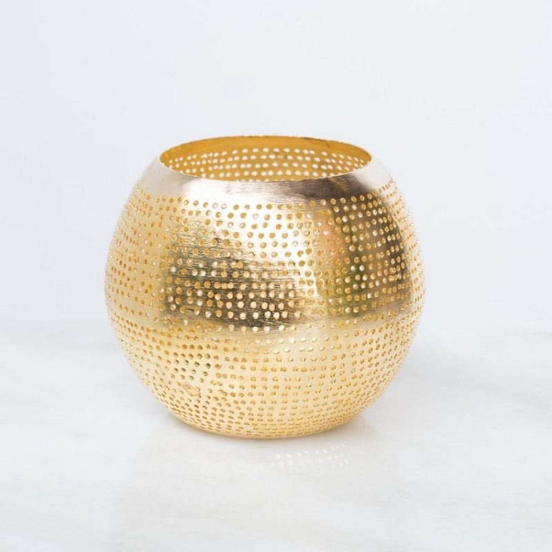 WAX HOLDER ROUND GOLD    - CANDLE HOLDERS