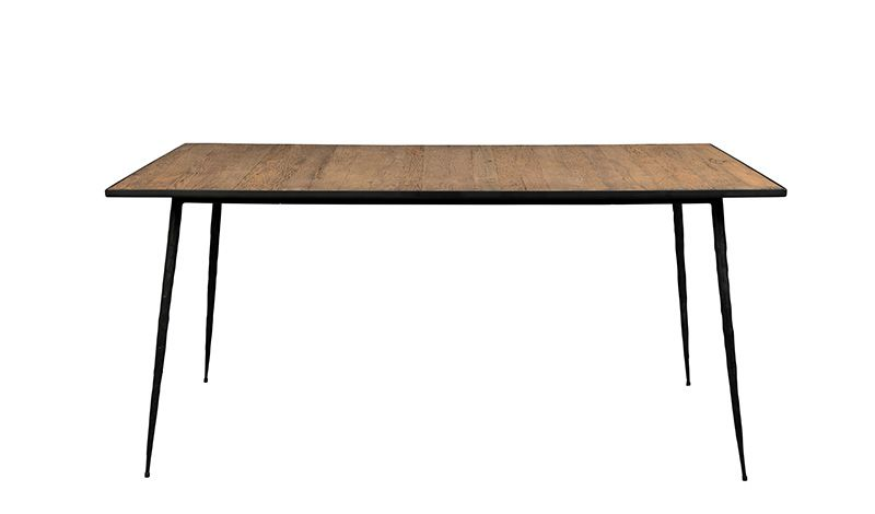 OAK VENEER TABLE WITH CARBON STEEL LEGS       - DINING TABLES