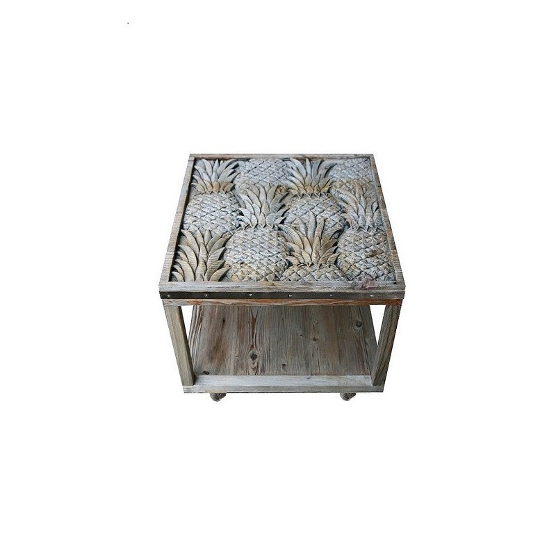 PINEAPPLE CARVING CAFETABLE RECYCLE WOOD
