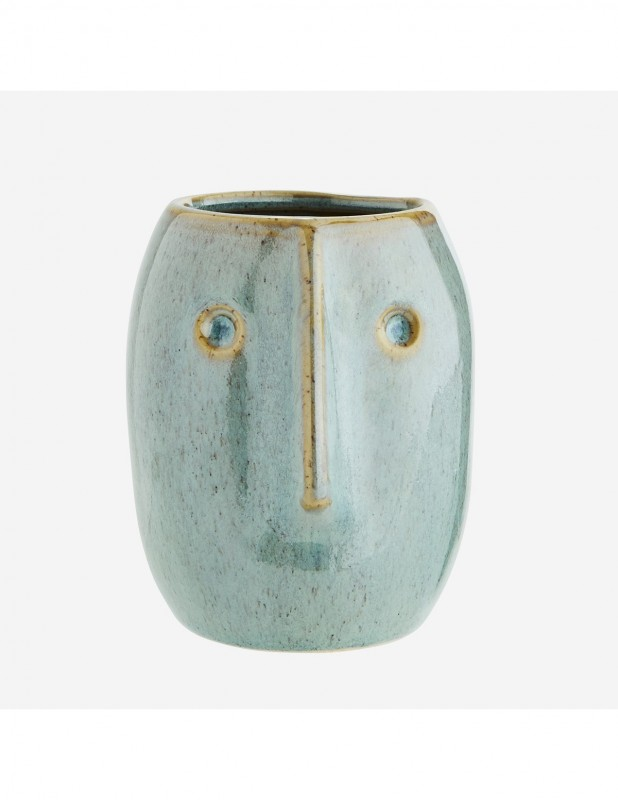 FLOWER POT WITH FACE IMPRINT GREEN OR NATURAL      - POTS, VASES, PLATES
