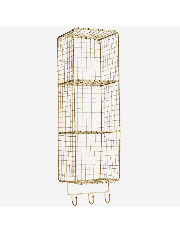 WIRE SHELF BRASS WITH HOOKS 70 - CABINETS, SHELVES