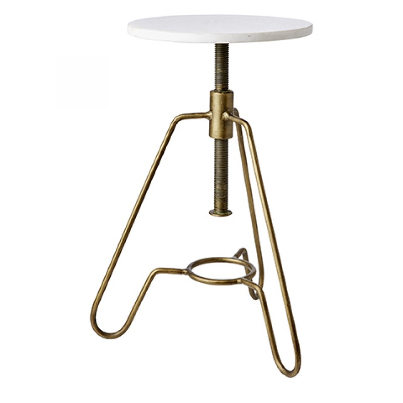 BRASS STOOL WITH MARBLE TOP    - CHAIRS, STOOLS