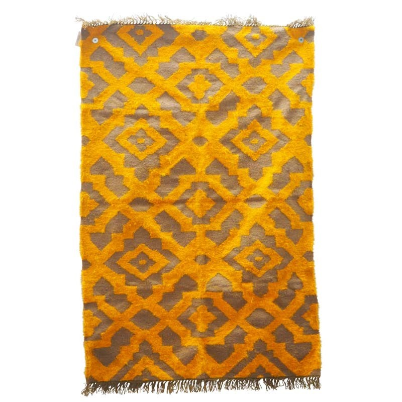 YELLOW SILK AND JUTE RUG