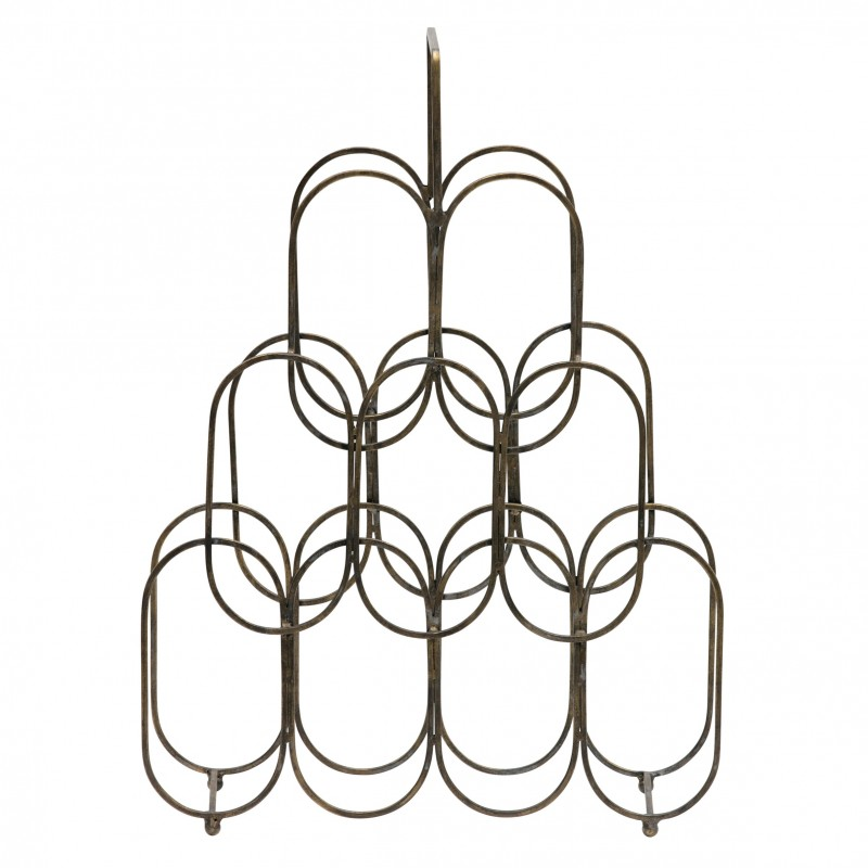 FIRE WINE RACK METAL ANTIQUE BRASS       - DECOR ITEMS