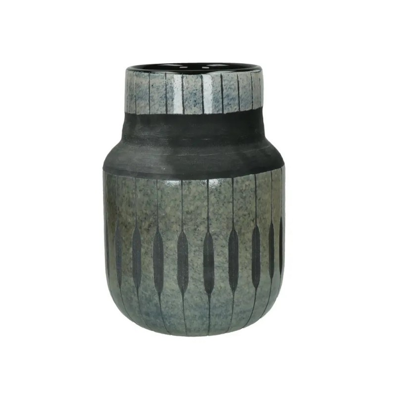 VASE GLAZED BLACK GLASS 22      - POTS, VASES, PLATES