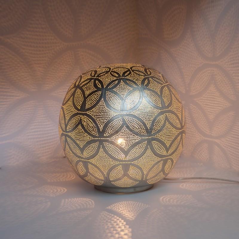 TABLE LAMP HARI BALL MEDIUM SILVER     - TABLE LAMPS