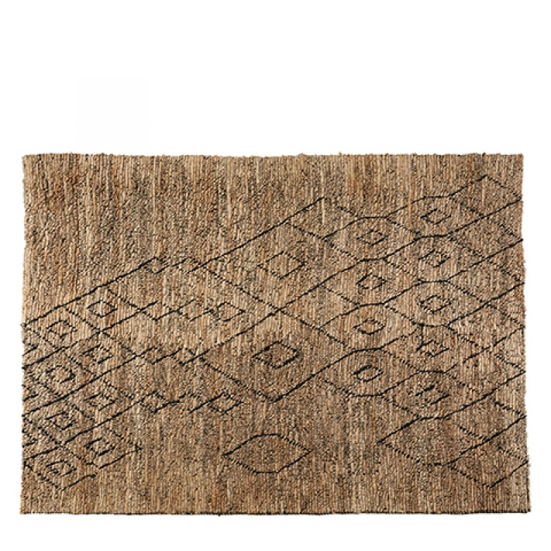 NATURAL JUTE RUG WITH BLACK PATTERN