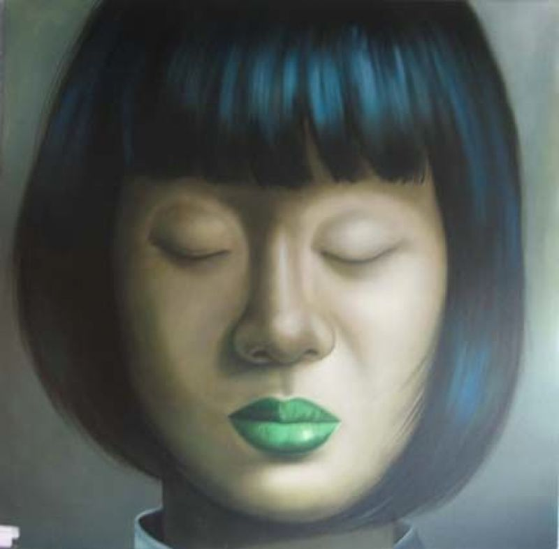 ASIAN GIRL CLOSED EYE WITH GREEN LIP - PAINTINGS