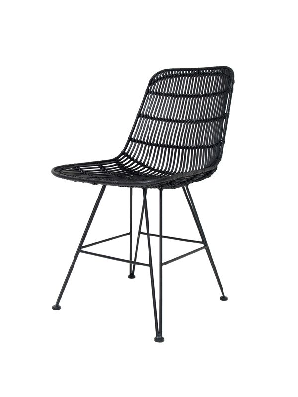 Rattan Dining Chair Black    - CHAIRS, STOOLS