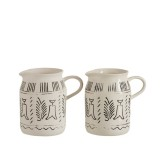 G MAMA PITCHER ETHNIC WHITE CERAMIC      - POTS, VASES, PLATES