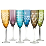 CHAMPAGNE GLASS CUTTING  SET OF 6 MIX COLOR