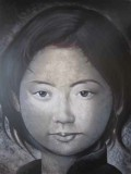 ASIAN GIRL GREY FACE - PAINTINGS
