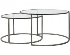 GLASS TOP ZINK FRAME CAFE TABLE 2 SIZES     - CAFE, SIDETABLES