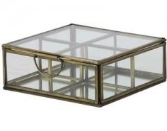 GDECO BOX 4COMP. ALEXANDRA ANTIQUE BRONZE GLASS       - DECOR ITEMS