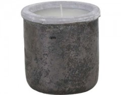 GMLL18W_POT DECO WITH CANDLE CANEJA BLACK    - CANDLE HOLDERS