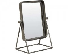 MAKEUP MIRROR ANTIQUE ZINC SQR
