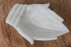 MARBLE HAND BOWL WHITE       - DECOR ITEMS