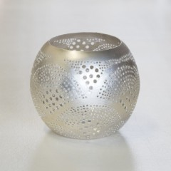 WAXHOLDER BALL PTR BRASS SILVER PLATED SILVER    - CANDLE HOLDERS
