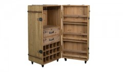 WINE CABINET 15 SOLID WOOD ANTIQUE FINISH