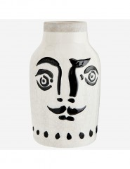 FACE BLACK AND WHITE STONEWARE VASE