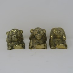 BRONZE 3 MONKEYS STATUE SMALL