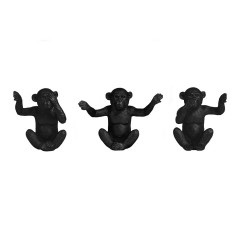 ORNAMENT MONKEY BLACK SET OF 3       - DECOR ITEMS