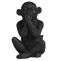 ORNAMENT SITTING MONKEY BLACK       - DECOR ITEMS