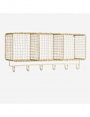SHELF HORIZONT HANGING WITH HOOKS ANTIQ BRASS FINISH - CABINETS, SHELVES