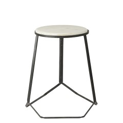 MAMA IRON STOOL WITH MARBLE TOP BLACK    - CHAIRS, STOOLS