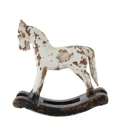 WHITE ROCKING WOODEN HORSE