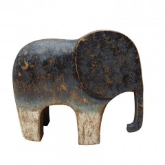 WOOD ELEPHANT BLUE MEDIUM       - DECOR ITEMS