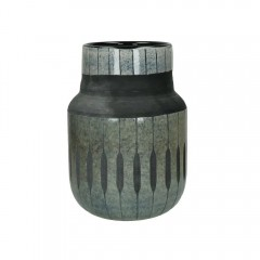 VASE GLAZED BLACK GLASS 22