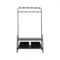 BLACK METAL GARDEROBE STAND WITH 2 BOXES