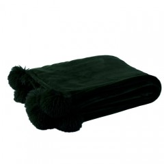 G MAMA BLANKET WITH POMPOM POLY BLACK
