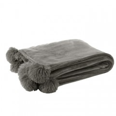 G MAMA BLANKET WITH POMPOM POLY LIGHT GREY