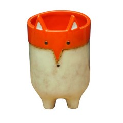 CERAMIC POT ORANGE FOX       - DECOR ITEMS