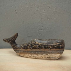 WOODEN NATURAL WHALE DECO       - DECOR ITEMS