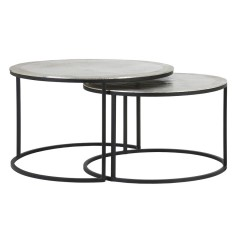 COFFEE TABLE RAW NICKEL AND SILVER COLOR METAL 2 SIZES     - CAFE, SIDETABLES