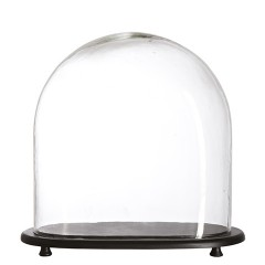 GLASS BELL WITH OVAL TRAY 30       - DECOR ITEMS