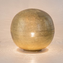 TABLE LAMP BALL FLSK GOLD PLATED 40