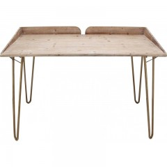 DESK TABLE NATURAL WOOD COPPER COLORED METAL LEG - CONSOLS, DESKS