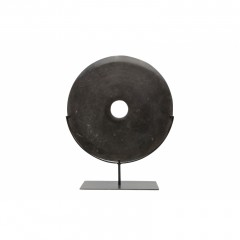 BLACK STONE COIN ON STAND       - DECOR ITEMS