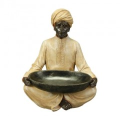 DECO SITTING SARACEN WITH BOWL       - DECOR ITEMS