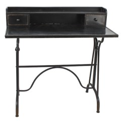 DESK TABLE BLACK IRON SECRETARY - CONSOLS, DESKS