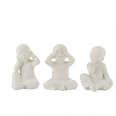 MONK DECO SEE HEAR SPEAK POLY WHITE       - DECOR ITEMS